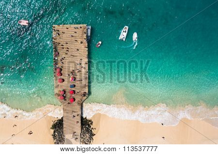 Aerial View Of Santa Maria Beach Pontoon In Sal Island Cape Verde - Cabo Verde