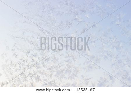 Winter Background. Frost Ice On Window