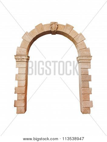 Stone Arch Architecture Isolated On White Background, Cliping Path