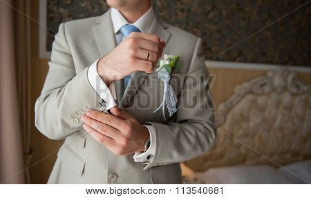 Groom In A Suit, Hands Wear Cuff links