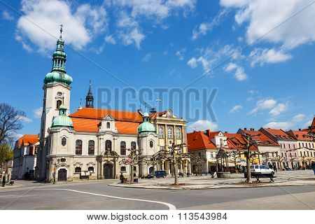 Pszczyna, Poland - April 21, 2015: Historical Center Of Pszczyna In Silesia Region, Poland