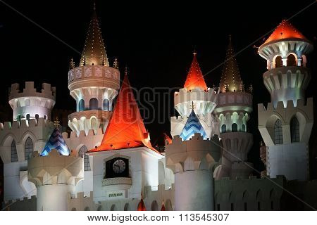 Towers of Excalibur at night