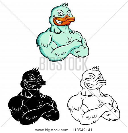 Ducks Strong Mascot .eps10 editable vector illustration design