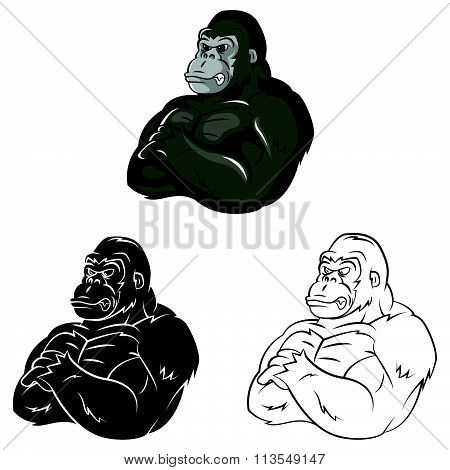Gorillas Strong Mascot .eps10 editable vector illustration design