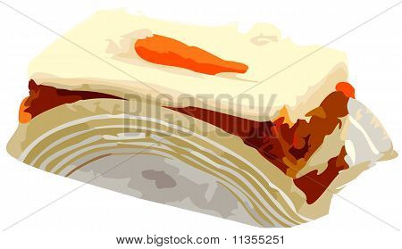 Piece of carrot cake on bakery serving paper vector illustration. poster
