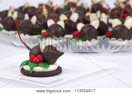 Candy mice on open face cookie