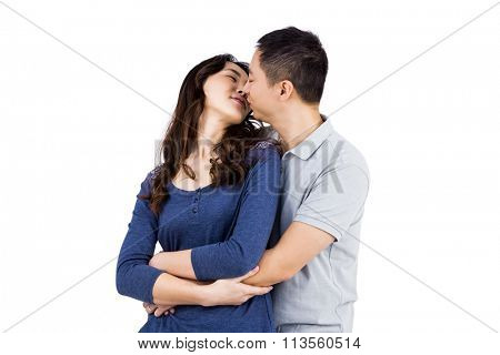 Affectionate couple embracing each other against white background poster