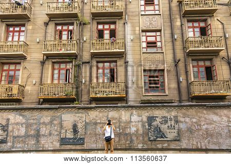 Tourist Old Duolon Cultural Road Apartments Hongkou District Shanghai China