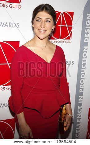 Mayim Bialik at the 19th Annual Art Directors Guild Excellence In Production Design Awards held at the Beverly Hilton Hotel in Los Angeles, USA on January 31, 2015.