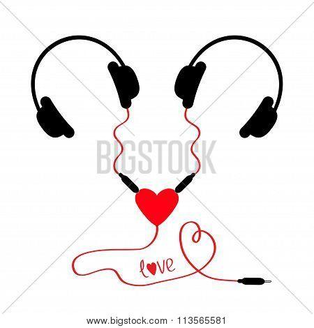 Two Headphones. Earphones Couple Audio Splitter Adapter Heart. Red Cord. Word Love. Isolated. White