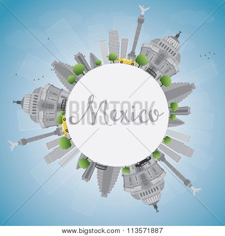 Mexico skyline with gray landmarks and blue sky. Business travel and tourism concept with historic buildings and copy space. Image for presentation, banner, placard and web site.