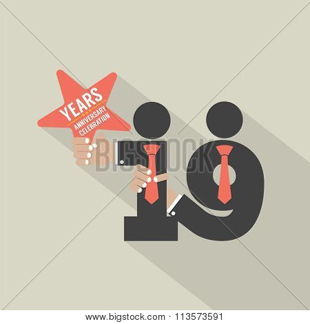 19Th Years Anniversary Typography Design.