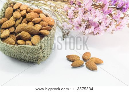Almond Grains On White Clean Table