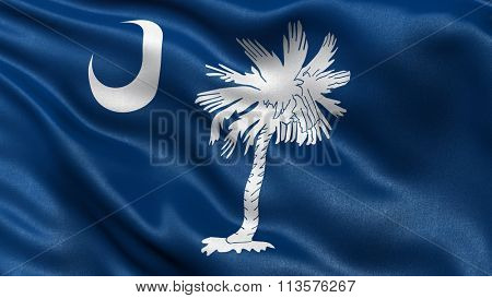 US state flag of South Carolina with great detail waving in the wind.