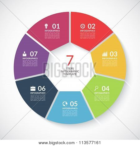 Infographic circle banner. Vector template with 7 steps, parts, options