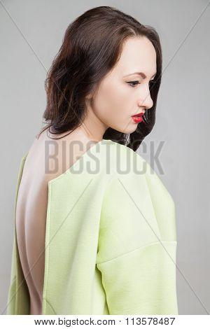 Young attractive woman in morden coat