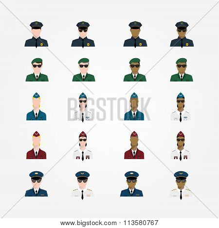 Set Of Policeman Military Pilot Flight Attendant Woman Pilot In Sunglasses Officer, Major General, C