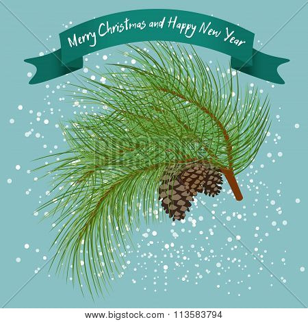 Green Fur-tree Branch With Cones Under Snow