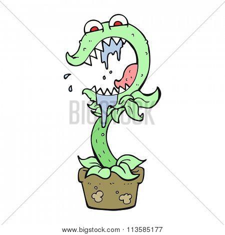 freehand drawn cartoon carnivorous plant