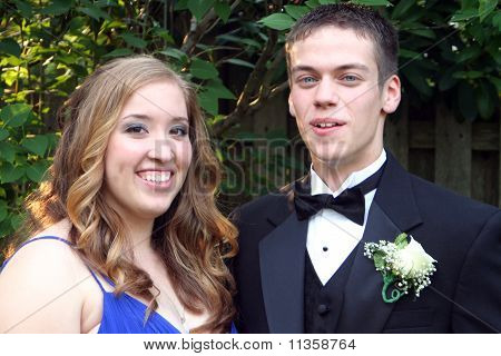 Closeup Prom Couple Casual Horizontal