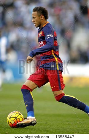 BARCELONA - JAN, 2: Neymar da Silva of FC Barcelona during a Spanish League match against RCD Espanyol at the Power8 stadium on January 2, 2016 in Barcelona, Spain