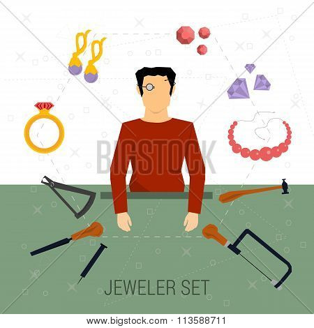 Vector icons set of jeweler profession