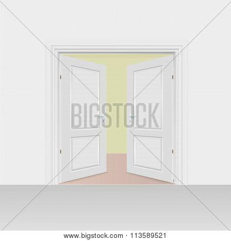 Opened Interior Doors Hinged Bivalve, Swings Door