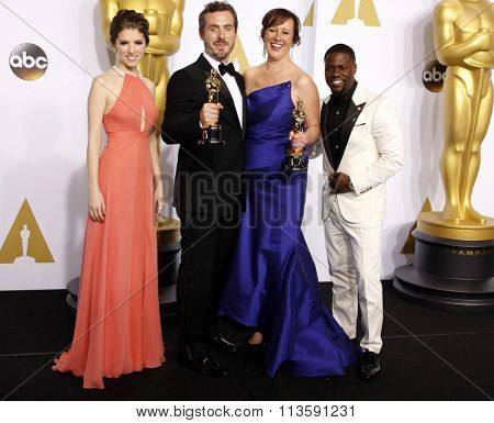 Patrick Osborne, Kristina Reed, Anna Kendrick and Kevin Hart at the 87th Annual Academy Awards - Press Room held at the Loews Hollywood Hotel in Los Angeles, USA on February 22, 2015.