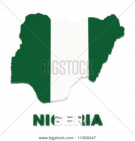 Nigeria, Map with Flag, Isolated on White with Clipping Path