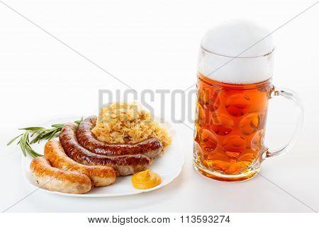 Oktoberfest Menu, Beer Mug, A Plate Of Sausages And Sauerkraut