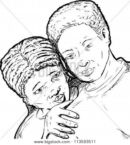 Black Couple Outline