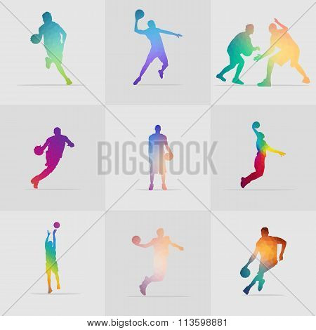 High Quality Stock Collection Basketball Player Silhouette Polygon Vector Illustration