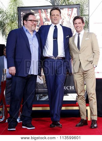 Jon Favreau, Vince Vaughn and James Marsden at Vince Vaughn Hand-Footprints Ceremony held at the TCL Chinese Theatre in Los Angeles, USA on March 4, 2015.
