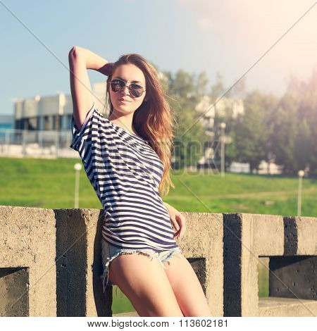 Summer Fashion Hipster Girl Relaxing Outdoors