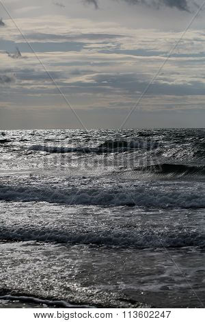 Sea Waves On Dull Day