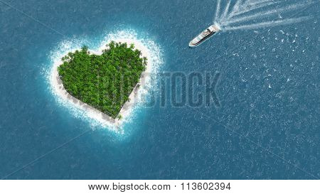 Heart island. A luxury boat is sailing to the island.