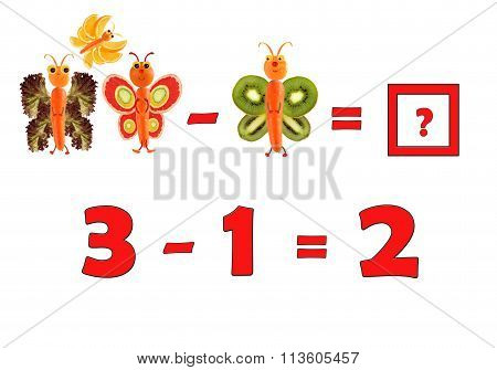 Illustration Of Education Mathematics For Preschool Children. The Figures Are Made Of Fruits And Veg