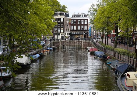 Amsterdam, The Netherlands - August 18, 2015: View On Prinsengracht From Lijnbaansgracht. Street Lif