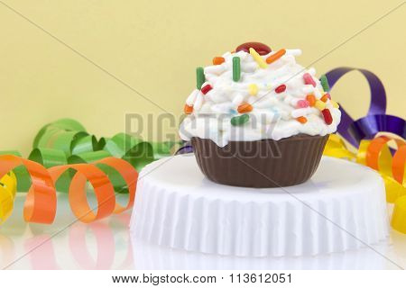 CupCake Candy Cake Ball with light yellow background
