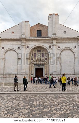 RIMINI ITALY - NOVEMBER 03 2013: The Tempio Malatestiano (Italian Malatesta Temple) is the cathedral church. Inside the famous Italian seaside resort of Rimini hotels over five hundred