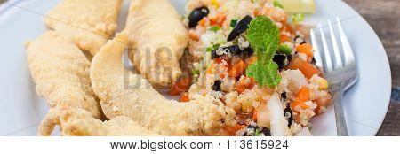 Deep Fried Fillet With Salad