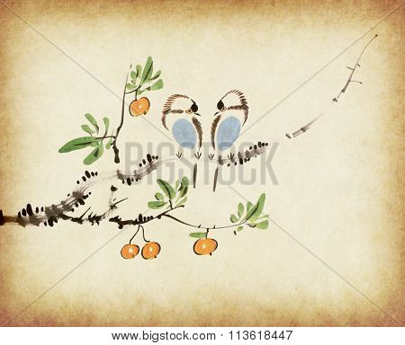 Traditional chinese painting  loquat and two birds on old Paper Background