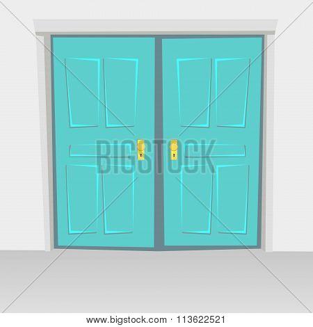 Interior Doors Hinged Bivalve, Swings Door. Colored With Golden Handle