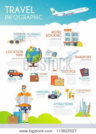 Colourful travel vector infographic