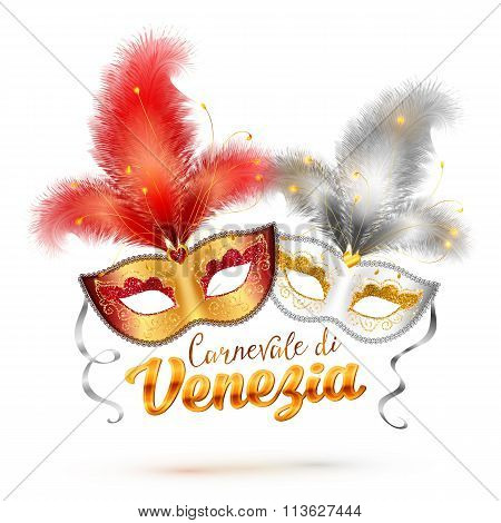 Carnevale di Venezia sign and two bright carnival masks with feathers