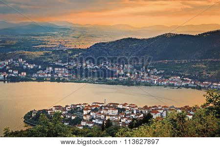 Evening View From Above The City Of Kastoria, Greece