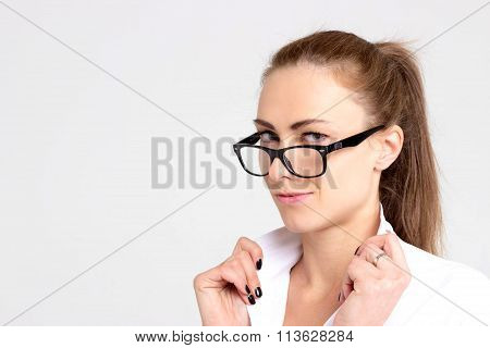 Portrait Of Sexy Office Woman In Glasses Isolated