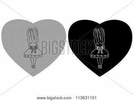 Cute little girl holding heart. VEctor doodles illustration