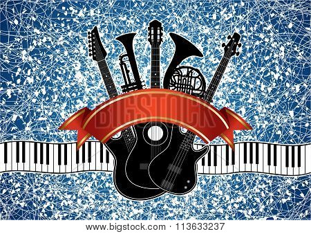 Collage - Musical Instruments On An Abstract Background