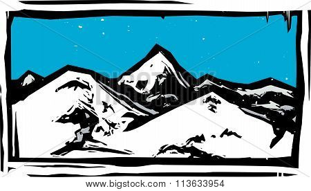 Color Woodcut Mountain
